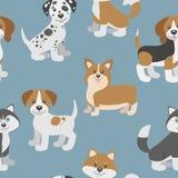 Vector il modello senza cuciture con i cuccioli svegli del cane del fumetto Fotografia Stock Libera da Diritti
