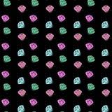 Vector il modello senza cuciture con i diamanti variopinti su fondo nero Fondo di modo con il cristallo ENV 10 Fotografie Stock Libere da Diritti