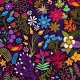 Vector il modello senza cuciture con i fiori e le piante stilizzati Carta da parati botanica luminosa Molti fiori variopinti sul  Fotografia Stock Libera da Diritti