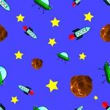 Vector il modello senza cuciture con i pianeti, le navi e le stelle - fondo in annata illustrazione vettoriale