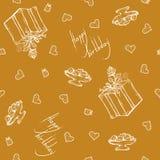 Vector il modello senza cuciture con i saluti ed i cuori di compleanno Fondo dell'oro per lo spostamento di regalo la scatola, na Fotografia Stock Libera da Diritti