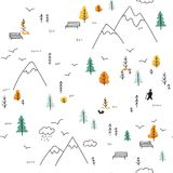 Vector il modello senza cuciture con l'uomo che cammina in montagne immagini stock libere da diritti