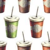 Vector il modello senza cuciture con la bevanda in tazza di carta Disegnato a mano illustrazione vettoriale