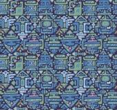 Vector il modello senza cuciture con la maya disegnata a mano dell'ornamento di colore Immagine Stock