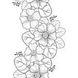 Vector il modello senza cuciture con la primula del profilo o fiore e foglie della primaverina nel nero sui precedenti bianchi co illustrazione vettoriale