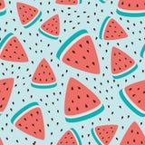 Vector il modello senza cuciture con le fette dell'anguria, progettazione della carta da parati della frutta fresca dell'estate Fotografie Stock