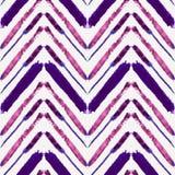 Vector il modello senza cuciture con le linee etniche di zigzag dell'acquerello Illustrazione di Stock