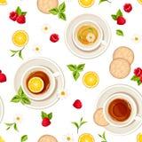 Vector il modello senza cuciture con le tazze di tè, dei frutti e delle foglie Fotografie Stock