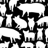 Vector il modello senza cuciture con il maiale su fondo nero fotografie stock libere da diritti