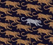 Vector il modello senza cuciture del leopardo con gli elementi grafici per la stampa sul tessuto Immagine Stock