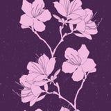 Vector il modello senza cuciture del rosa del rododendro sulla porpora Illustrazione Vettoriale