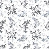 Vector il modello senza cuciture dell'estate tropicale bianca grigio scuro delle foglie Fotografia Stock Libera da Diritti