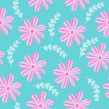 Vector il modello senza cuciture dell'illustrazione con le piante rosa dei fiori fotografie stock