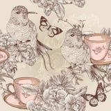 Vector il modello senza cuciture della carta da parati nello stile d'annata floreale royalty illustrazione gratis