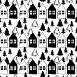 Vector il modello senza cuciture delle case e dell'albero di Natale scandinavi scarabocchio bianco nero Villaggio nordico Natale, Immagine Stock