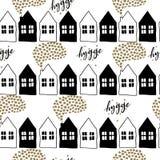 Vector il modello senza cuciture delle case scandinave con le nuvole di stella Hygge di Natale Scarabocchio in bianco e nero Vill Immagine Stock