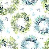 Vector il modello senza cuciture delle foglie dell'estate tropicale dei cerchi con le piante tropicali e le foglie verdi e blu su Fotografia Stock