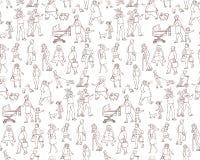 Vector il modello senza cuciture di schizzo dei residenti urbani di camminata delle illustrazioni Bambini ed adulti sulla via nel Fotografia Stock Libera da Diritti