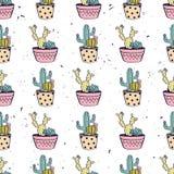 Vector il modello senza cuciture disegnato a mano variopinto con i cactus ed i succulenti Immagine Stock Libera da Diritti
