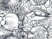 Vector il modello senza cuciture monocromatico del mare con i pesci tropicali, le alghe, coralli royalty illustrazione gratis