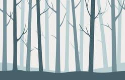 Vector il modello senza cuciture o il fondo della foresta blu sveglia Immagine Stock