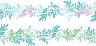Vector il modello senza cuciture orizzontale dell'estate tropicale rosa blu delle foglie Immagini Stock