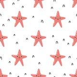 Vector il modello senza cuciture puerile con le stelle marine sveglie su fondo bianco illustrazione vettoriale