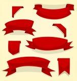 Vector il nastro di divertimento rosso del fumetto e l'insieme casuali isolati della raccolta del modello del segnalibro illustrazione di stock