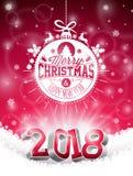 Vector il Natale e un'illustrazione da 2018 buoni anni su fondo rosso brillante con l'elemento di tipografia di festa e 3d Immagini Stock Libere da Diritti