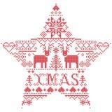 Vector il natale ispirato da festivo, cultura nordica del modello di Natale dell'inverno in punto trasversale con i cuori, la ren royalty illustrazione gratis