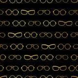 Vector il nero ed il modello senza cuciture degli accessori delle bande di vetro dell'oro Grande per il tessuto di tema di occhia Fotografie Stock Libere da Diritti