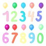 Vector il numero variopinto 1, 2, 3, 4, 5, 6, 7, 8, 9, 0 con il pallone illustrazione vettoriale
