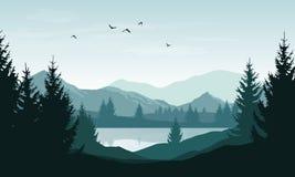 Vector il paesaggio con le siluette blu delle montagne, delle colline e della f Immagini Stock