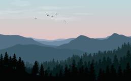 Vector il paesaggio con le siluette blu delle montagne, delle colline e della f Fotografia Stock Libera da Diritti