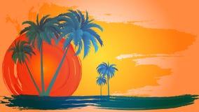 Vector il paesaggio delle palme su un fondo del cielo e del sole astratti ENV 10 royalty illustrazione gratis