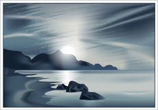 Vector il paesaggio marino Immagini Stock
