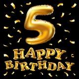 Vector il pallone metallico dorato di numero cinque di buon compleanno 5 Palloni dorati della decorazione del partito Segno di an Fotografia Stock Libera da Diritti