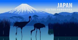 Vector il panorama del Giappone con la montagna Fuji e la gru sul lago Kawaguchiko royalty illustrazione gratis