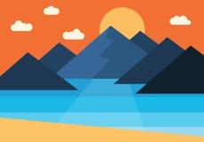 Vector il panorama del tramonto nelle montagne dal mare Immagine Stock Libera da Diritti