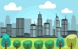Vector il parco della città con l'illustrazione alta del paesaggio della costruzione della città illustrazione di stock