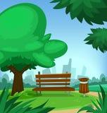 Vector il parco della città della molla del fumetto con la pattumiera dell'albero del banco fondo della città e nel bello dello s illustrazione vettoriale