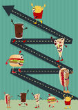 Vector il personaggio dei cartoni animati divertente creativo degli alimenti a rapida preparazione del modello Fotografie Stock