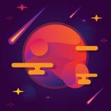 Vector il pianeta luminoso dell'illustrazione con le stelle ed il volo dalle meteoriti illustrazione di stock