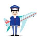 Vector il pilota piano in uniforme con il volo sul fondo Fotografie Stock Libere da Diritti