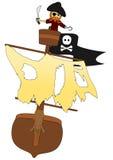 Vector il pirata nel suo nido di corvi sopra bianco Fotografie Stock