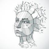 Vector il poli ritratto femminile basso dimensionale con le linee ingranano, gra Fotografia Stock Libera da Diritti