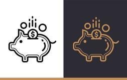 Vector il PORCELLINO SALVADANAIO lineare delle icone di finanza, contante Alta qualità Fotografia Stock