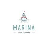 Vector il porticciolo, il modello di logo del volante, icona astratta di affari Nave ed onde steamboat Barca a vela pesca Fotografia Stock Libera da Diritti