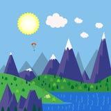 Vector il posto del campeggio dell'illustrazione nell'area del lago della montagna illustrazione vettoriale