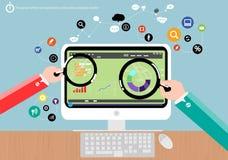 Vector il potere della nuova generazione di progettazione piana del mercato di analisi commerciale Immagini Stock Libere da Diritti
